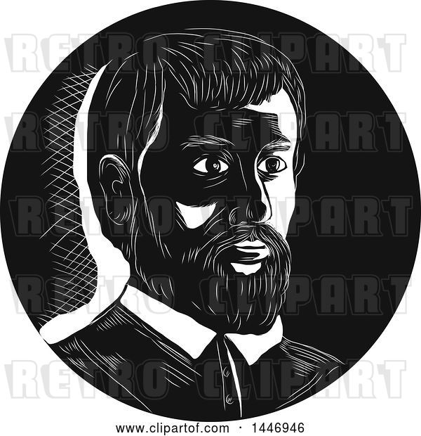 Vector Clip Art of Retro Engraved or Woodcut Styled Bust Portrait of Hernando De Soto, Spanish Explorer, in