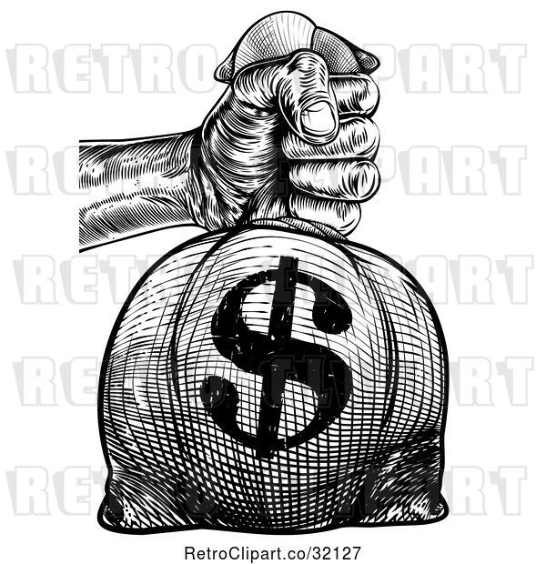 Vector Clip Art of Retro Engraved or Woodcut Styled Hand Holding out a Burlap USD Money Bag Sack to Pay Taxes