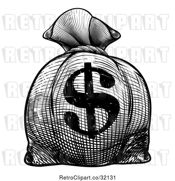 Vector Clip Art of Retro Engraved or Woodcut Styled USD Burlap Money Bag Sack