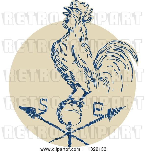 Vector Clip Art of Retro Engraved Rooster Crowing on a Weather Vane