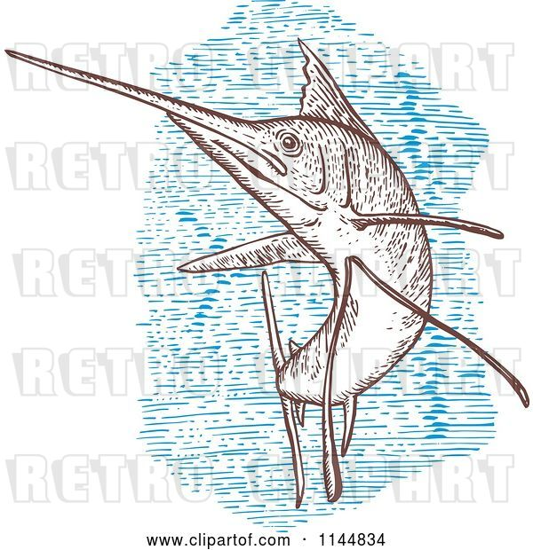 Vector Clip Art of Retro Engraved Sailfish 1