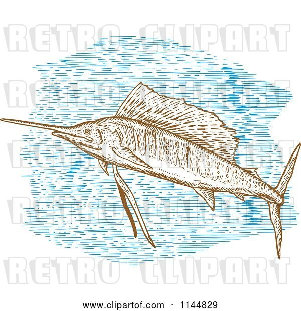 Vector Clip Art of Retro Engraved Sailfish 2