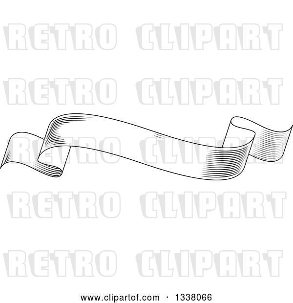 Vector Clip Art of Retro Engraved Styled Blank Ribbon Banner 4