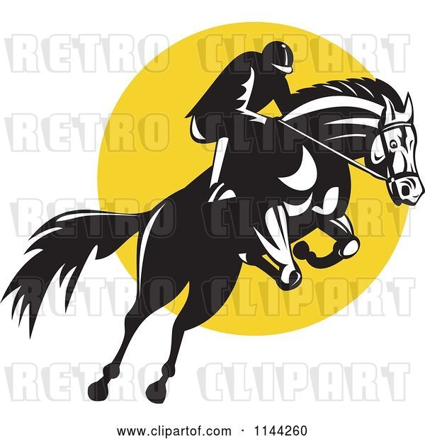 Vector Clip Art of Retro Equestrian on a Leaping Horse over a Yellow Circle