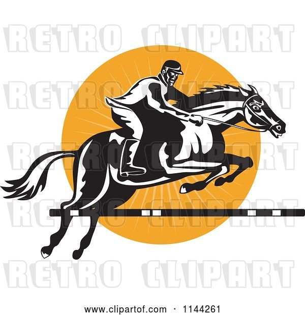 Vector Clip Art of Retro Equestrian on a Leaping Horse over an Orange Circle 1