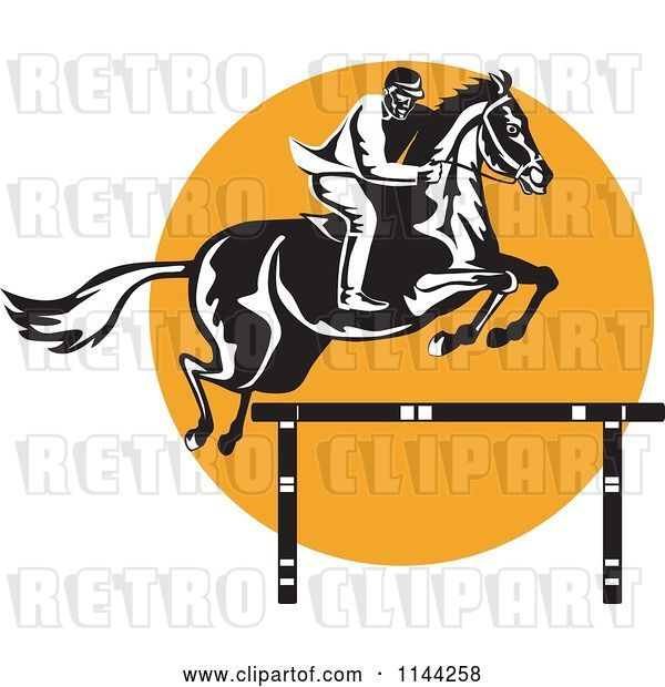 Vector Clip Art of Retro Equestrian on a Leaping Horse over an Orange Circle 2