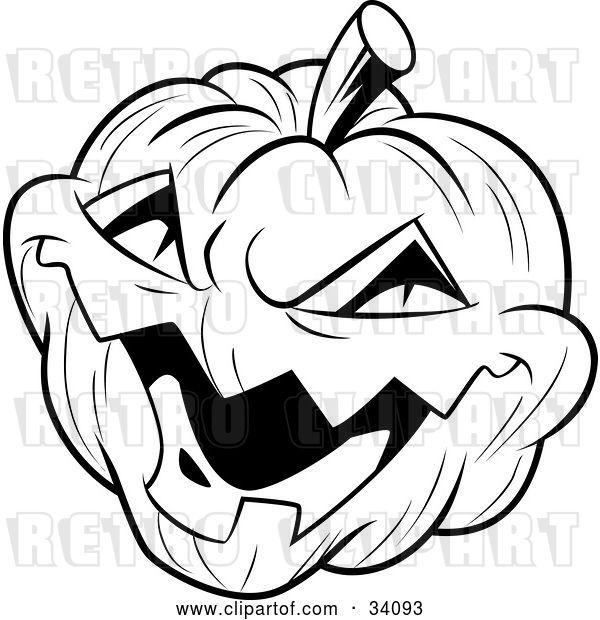 Vector Clip Art of Retro Evil Laughing Carved Halloween Jack O Lantern