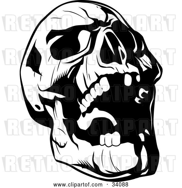 Vector Clip Art of Retro Evil Skull Tilting Its Head Back and Laughing