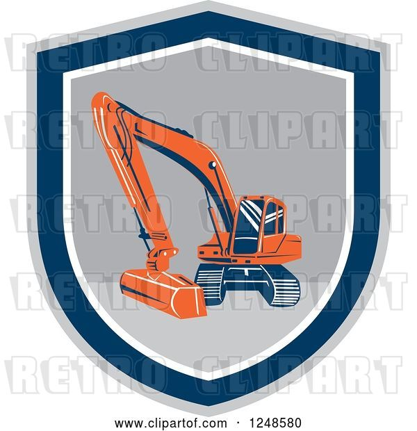 Vector Clip Art of Retro Excavator Machine in a Shield