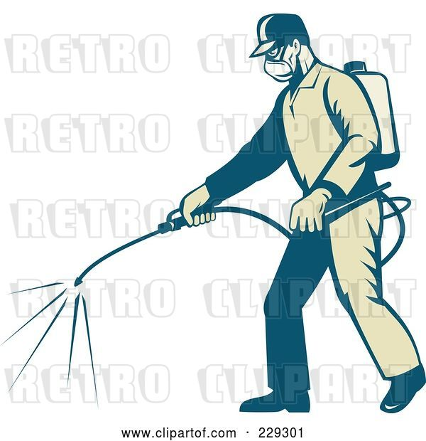 Vector Clip Art of Retro Exterminator Spraying