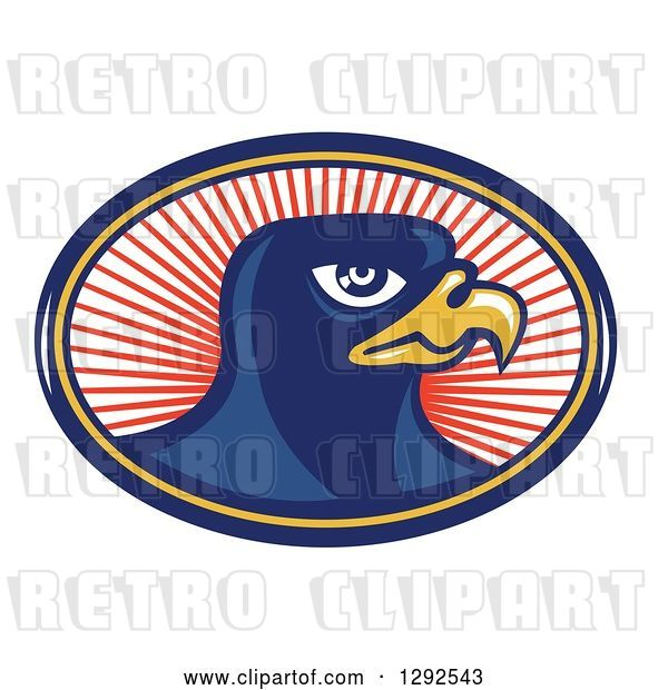 Vector Clip Art of Retro Falcon Head in a Blue Yellow and Red Oval of Rays