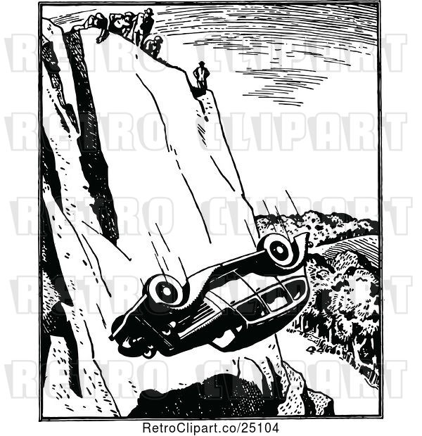 Vector Clip Art of Retro Falling Car Rolling over a Cliff
