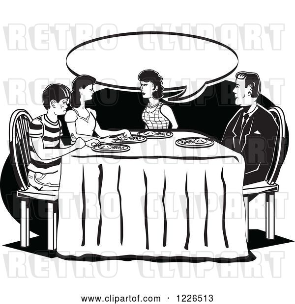 Vector Clip Art of Retro Family Talking at the Dinner Table in