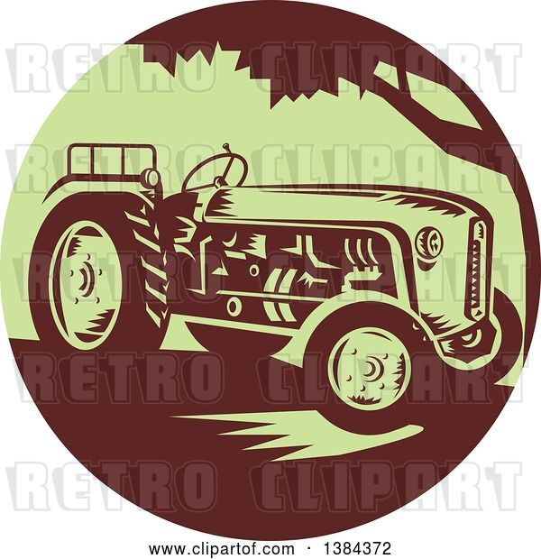 Vector Clip Art of Retro Farm Tractor in a Brown and Green Circle