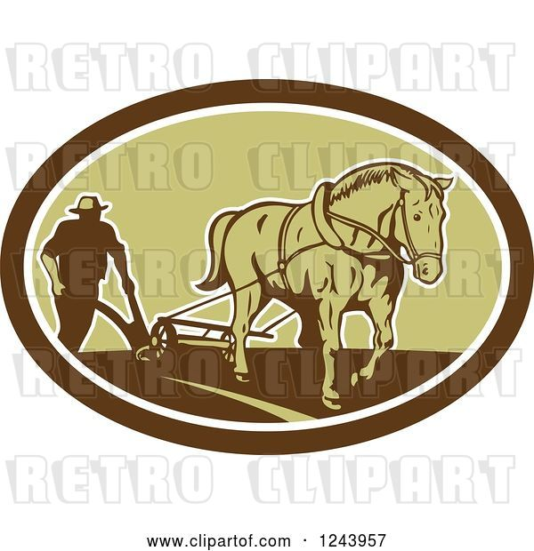 Vector Clip Art of Retro Farmer and Horse Plowing a Field in an Oval