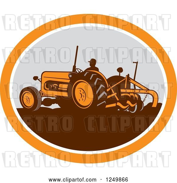 Vector Clip Art of Retro Farmer Operating a Plowing Tractor in an Orange and Gray Oval