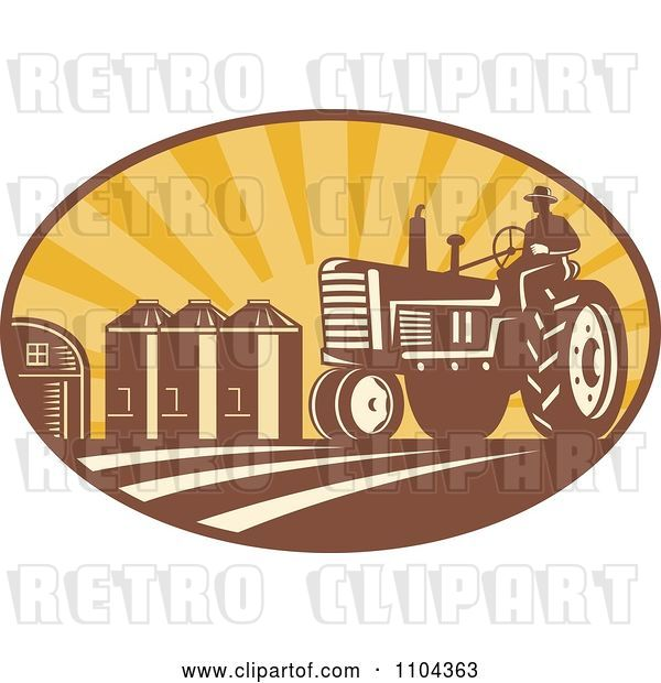 Vector Clip Art of Retro Farmer Operating a Tracter in a Crop with Silos in the Background