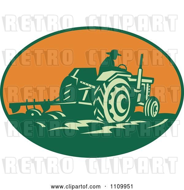 Vector Clip Art of Retro Farmer Operating a Tractor and Plowing a Field in an Orange Oval