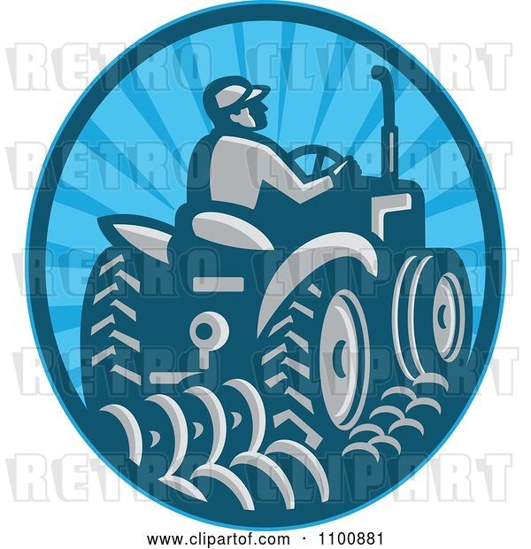 Vector Clip Art of Retro Farmer Operating a Tractor in a Blue Circle