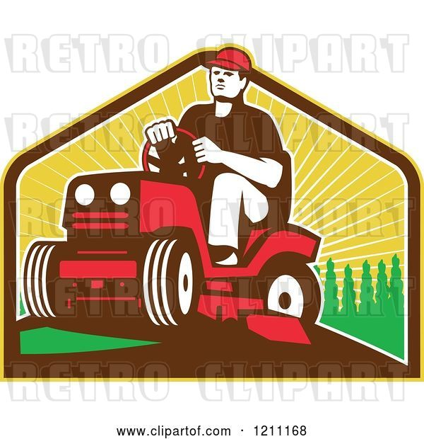 Vector Clip Art of Retro Farmer or Gardener Operating a Ride on Lawn Mower