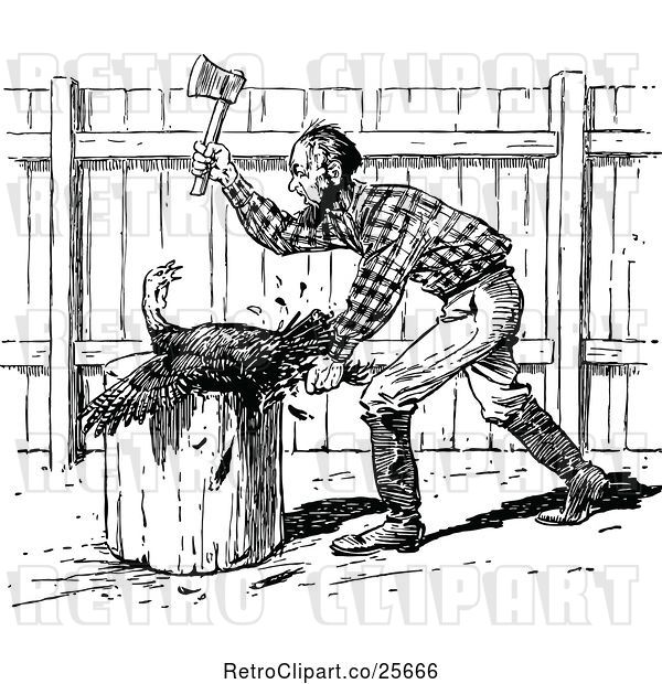 Vector Clip Art of Retro Farmer Slaughtering a Turkey Bird
