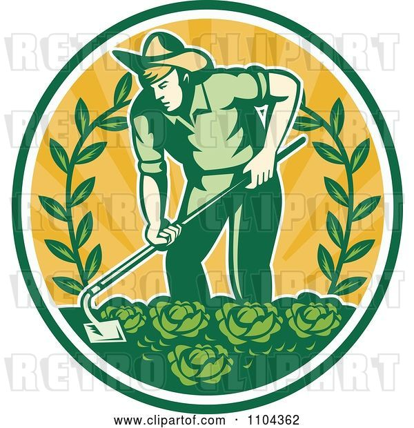 Vector Clip Art of Retro Farmer Working in a Cabbage Patch Crop over Orange Rays