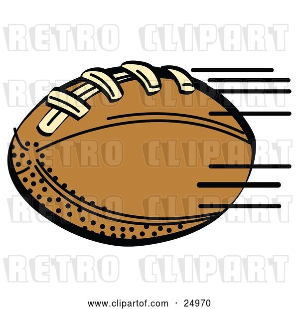 Vector Clip Art of Retro Fast Brown Leather American Football Speeding Through the Air During a Game