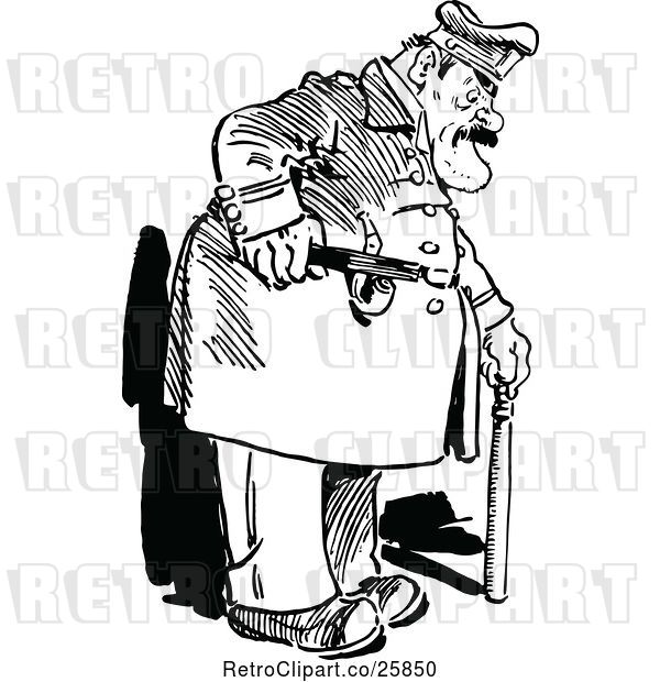 Vector Clip Art of Retro Fat Policeman