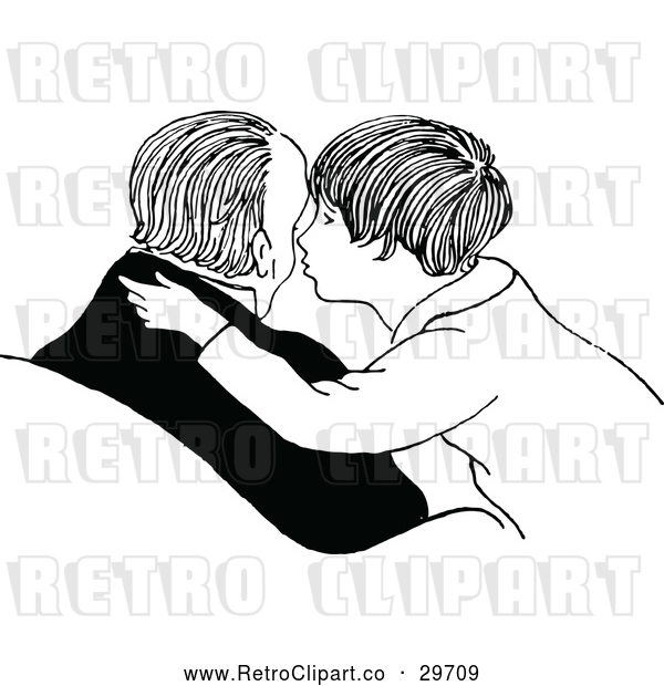 Vector Clip Art of Retro Father Son Kissing His Cheek