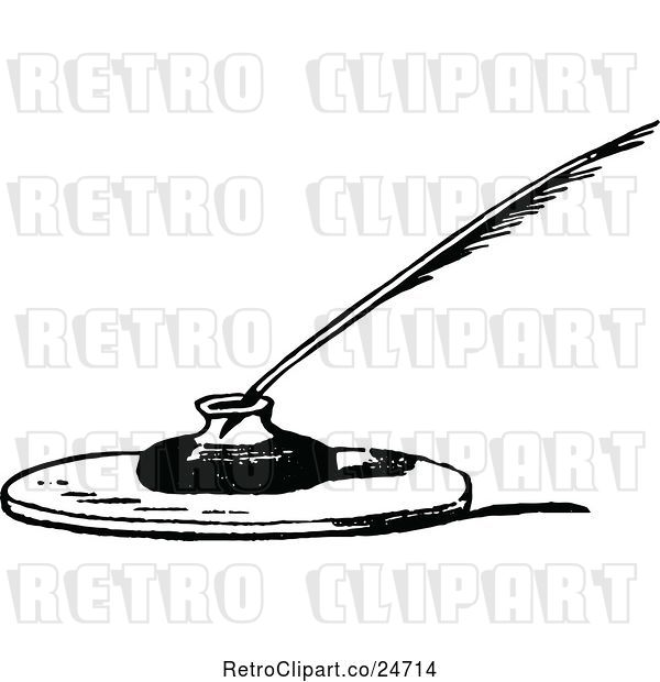 Vector Clip Art of Retro Feather Quill and Ink Well