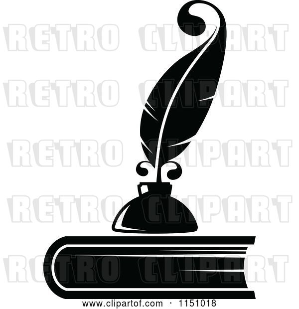 Vector Clip Art of Retro Feather Quill Pen and Ink Well on a Book
