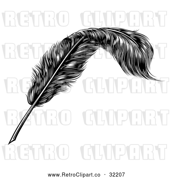 : Vector Clip Art of Retro Feather Quill Pen