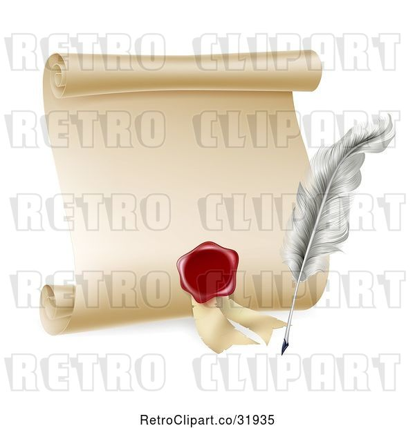 Vector Clip Art of Retro Feather Quill Pen, Wax Seal and Blank Scroll