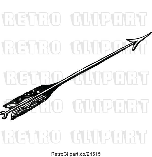 Vector Clip Art of Retro Feathered Archery Arrow