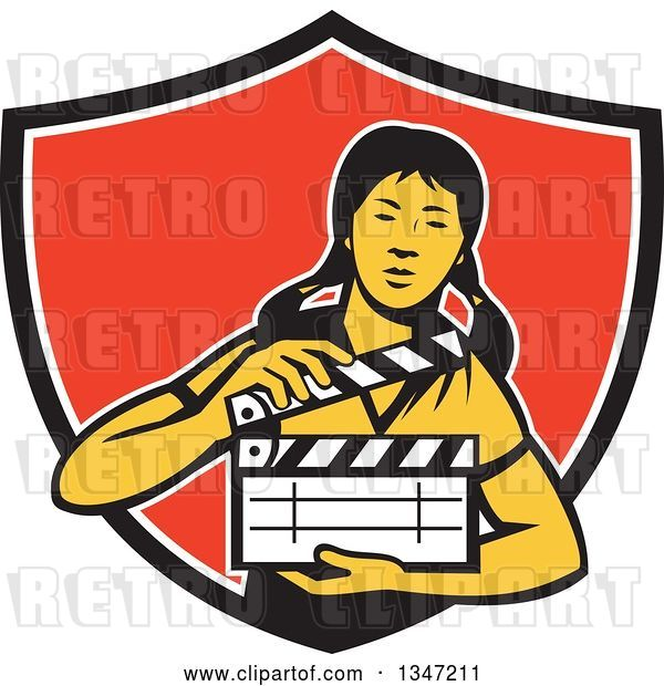 Vector Clip Art of Retro Female Asian Film Crew Worker Holding a Clapper in a Black White and Red Shield