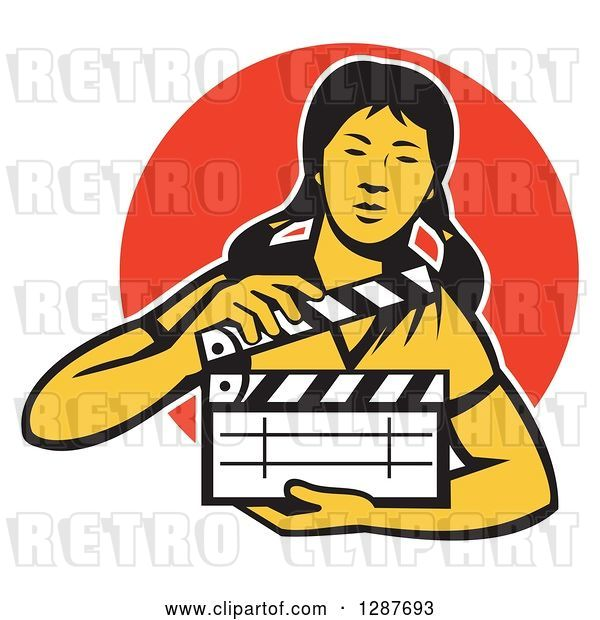 Vector Clip Art of Retro Female Asian Film Crew Worker Holding a Clapper over an Orange Circle
