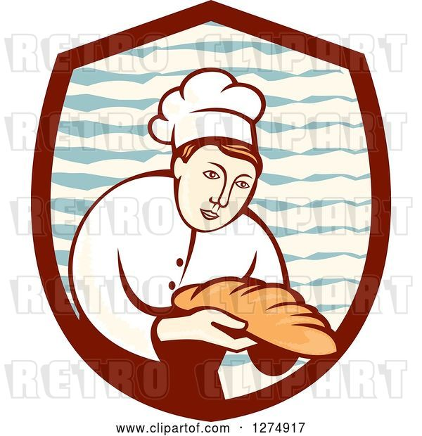 Vector Clip Art of Retro Female Baker Holding out Bread in a Shield