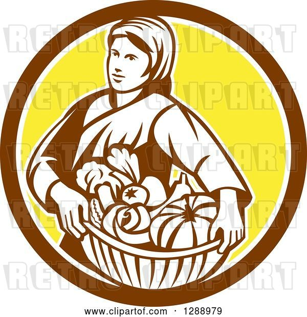 Vector Clip Art of Retro Female Farmer Holding a Basket of Harvest Produce in a Brown White and Yellow Circle