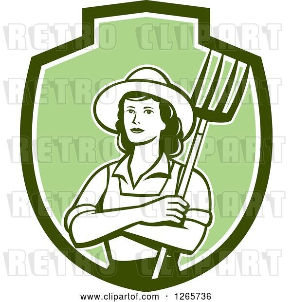 Vector Clip Art of Retro Female Farmer Holding a Pitchfork in a Green and White Shield