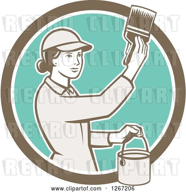 Vector Clip Art of Retro Female House Painter Using a Brush in a Brown White and Turquoise Circle