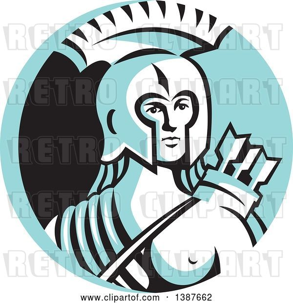 Vector Clip Art of Retro Female Spartan Warrior Archer in a Blue White and Black Circle