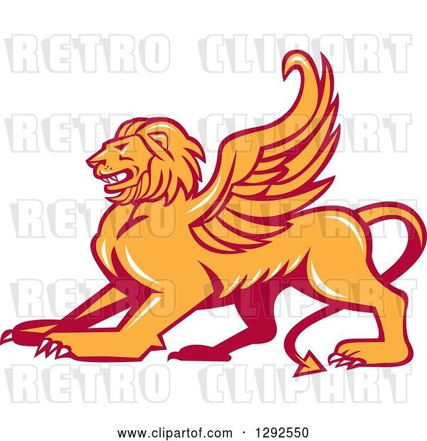 Vector Clip Art of Retro Fierce Winged Lion