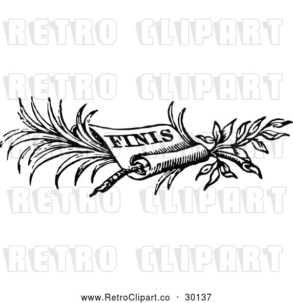Vector Clip Art of Retro Finish Scroll Border