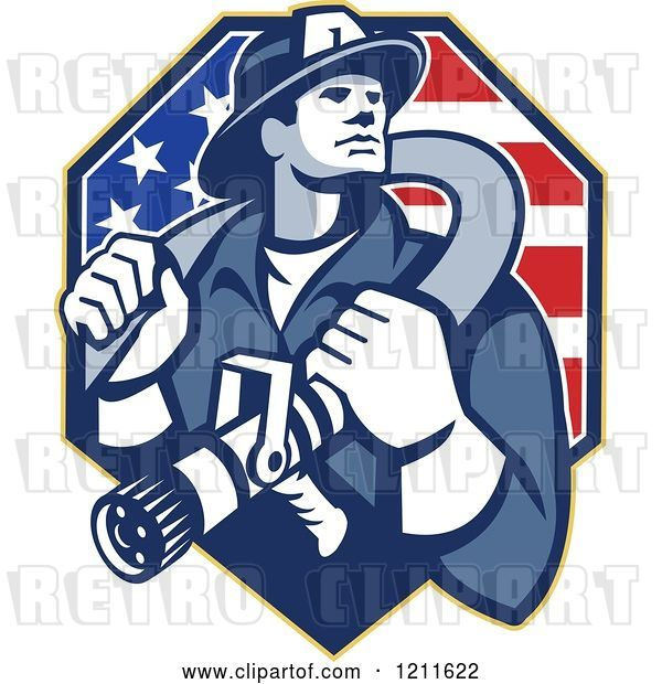 Vector Clip Art of Retro Fire Fighter Guy Holding a Hose on His Shoulders over an American Flag