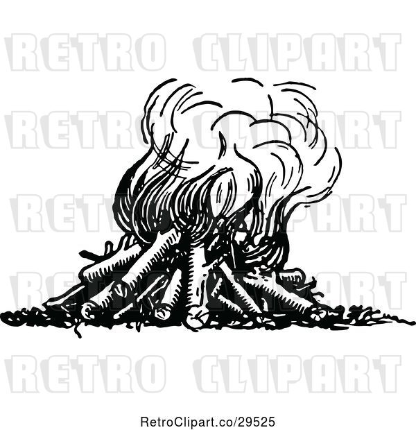 Vector Clip Art of Retro Fire with Logs