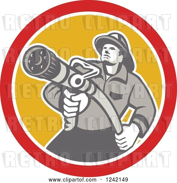 Vector Clip Art of Retro Firefighter Aiming a Hose in a Yellow and Red Circle