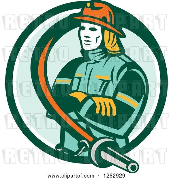 Vector Clip Art of Retro Firefighter Encircled with a Hose in a Green and White Circle