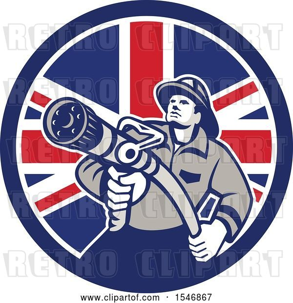 Vector Clip Art of Retro Firefighter Holding a Hose in a British Flag Circle