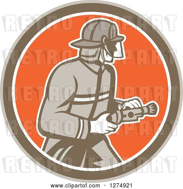 Vector Clip Art of Retro Firefighter Holding a Hose in a Brown White and Orange Circle