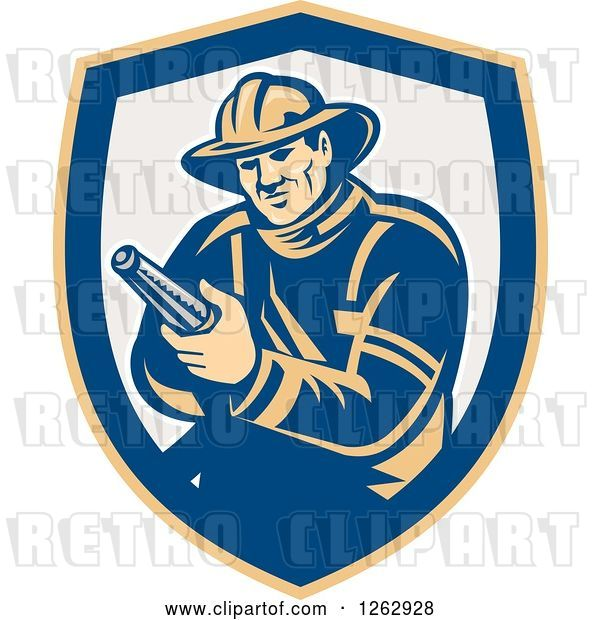 Vector Clip Art of Retro Firefighter Holding a Hose in a Yellow Blue and Taupe Shield